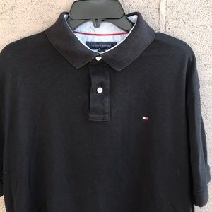 Men's black Tommy Hilfiger polo shirt